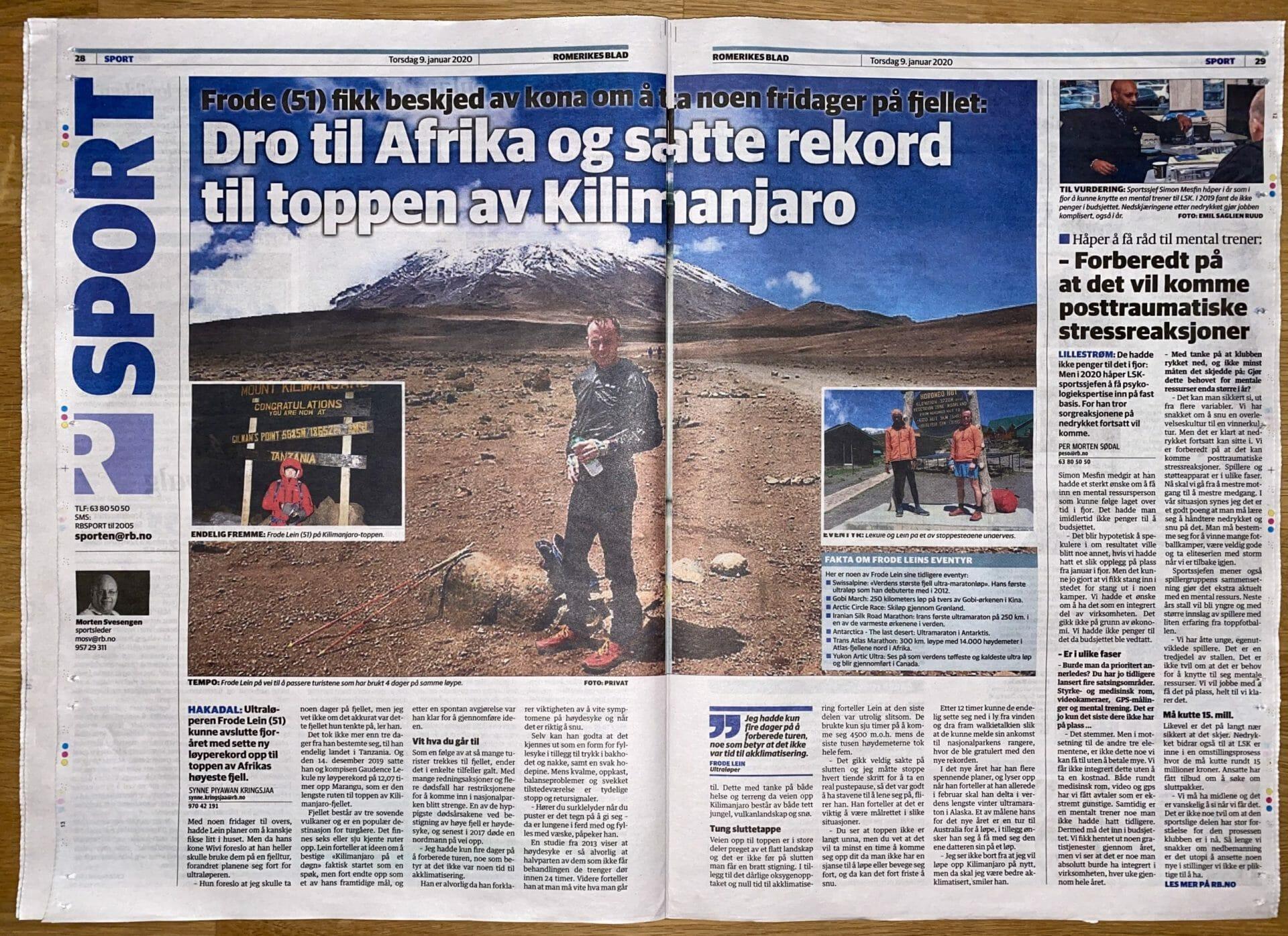 Kilimanjaro opp og ned før julebordet Exploring the limits